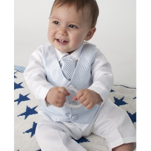 Baby Boys White Blue Check 4 Piece Satin Suit Christening